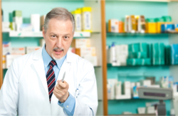 pharmacist pointing a pen